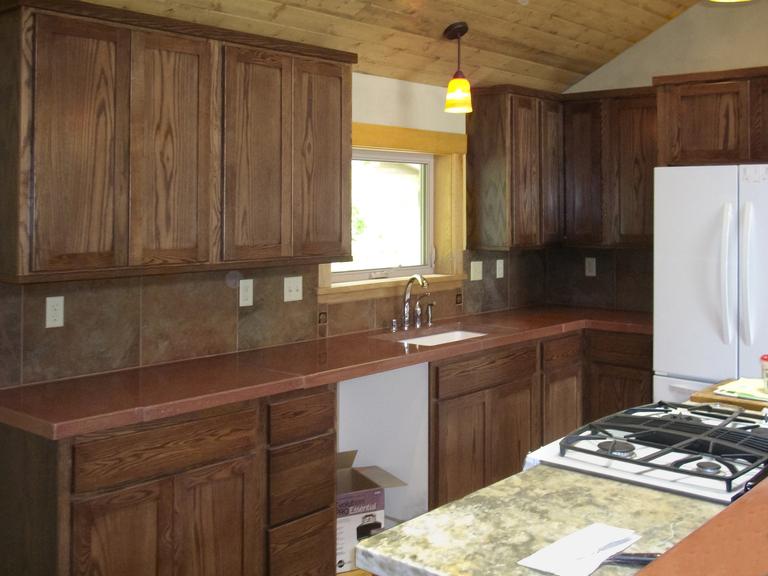 Walnut Stained Oak Kitchen Cabinets