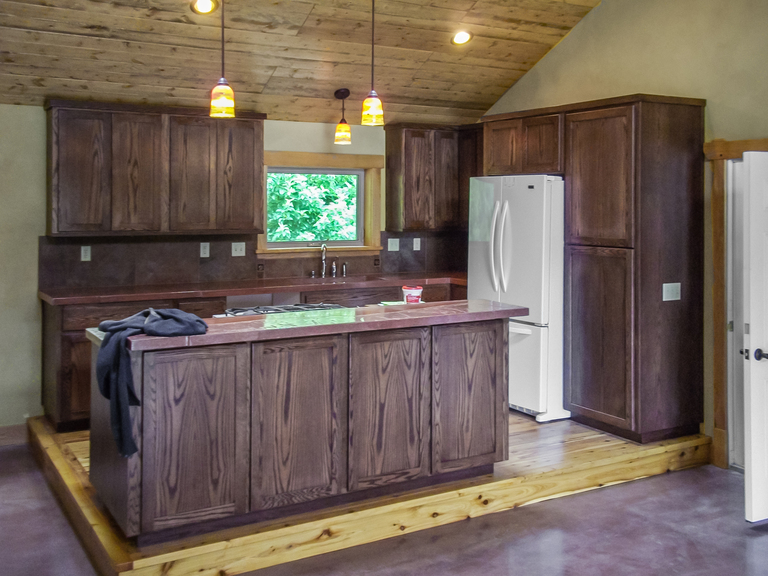 Staining oak cabinets dark walnut home for Dark oak kitchen cabinets