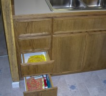 Stained Oak cabinets and laminate counter, Fortuna, CA