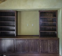 Oak entertainment center with dark walnut stain, Blue Lake, CA