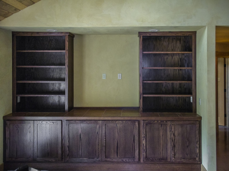 Oak Entertainment Center With Dark Walnut Stain Blue Lake Ca