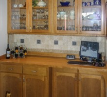 Cherry display cabinet with lower storage and solid wood counter, Fortuna, CA