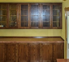 Oak display cabinet with lower storage, stained dark walnut, Blue Lake, CA