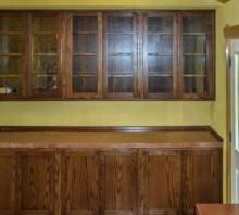 Oak display cabinet with lower storage, stained dark walnut, Blue Lake, CA