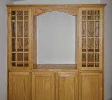 Natural Oak display cabinet with lower storage, Fortuna, CA