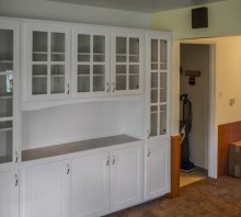 White lacquered Maple Built-in display cabinets with lower storage and laminate counter, Fortuna, CA