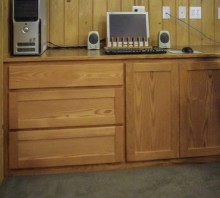 Oak audio center with laminate counter, Fortuna, CA
