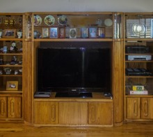 Oak entertainment center, rebuilt to extend width of the middle section, Fortuna, CA