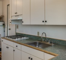 Melamine cabinets and laminate counter for canning room, Fortuna, CA