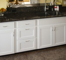 Maple kitchen cabinets with white varnish - Fortuna, CA