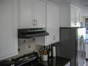 Maple kitchen cabinets with white varnish - Fortuna, CA