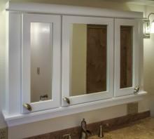 Maple medicine cabinet with white lacquer finish, Fortuna, CA