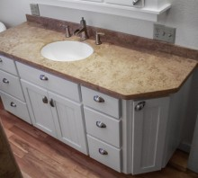 Maple bathroom cabinets with white lacquer finish, Fortuna, CA