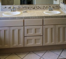 Maple bathroom vanity with white stain, Fortuna, CA