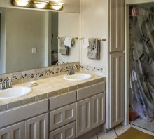 Maple bathroom cabinet with white stain, Fortuna, CA