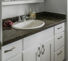 Maple bathroom vanity with white lacquer finish, Fortuna, CA